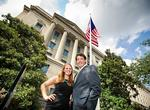 Amy Soenksen '13 and Knute Gailor '13, recipients of Levitt Public Service summer internships, pose in front of the Department of Justice in Washington, D.C. The students worked with Department of Justice paralegals and attorneys prepping cases for trial.