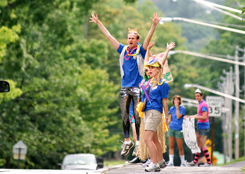 Orientation leaders welcome first-year students to campus.