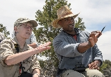 Professor Barbara Tewksbury and astronaut Victor Glover in the field in New Mexico.