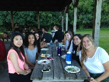 Students enjoy a kosher BBQ at our first Shabbat of the 2014-15 school year,