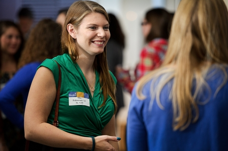 Mia Falzarano '13 chats during the Senior Gift Kick-off Reception.  (PHOTO BY NANCY L. FORD)
