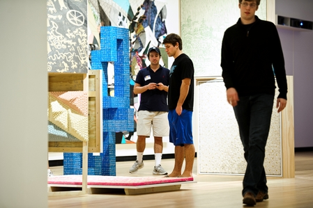 Students make their way through the exhibits in the new Ruth and Elmer Wellin Museum of Art. (PHOTO BY NANCY L. FORD)