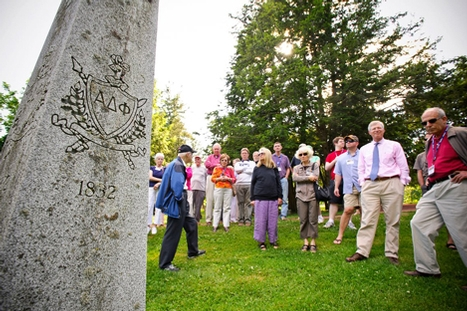 "Hamilton Alumni Review Editor Emeritus Frank Lorenz gives a tour called, ""Giants in the Earth: A Guided Tour of Hamilton's Cemetery."""