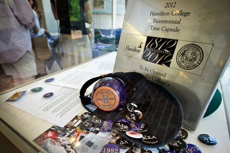Items that were to be put in the time capsule are on display in Kirner-Johnson commons.