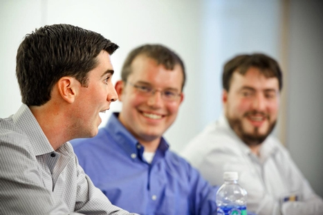 "(L-R) Colby Dennison '07, Ben Lee '07 and Alon Hillel-Tuch lead a discussion, ""How '07 Survived the Great Recession."""