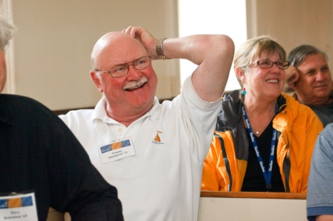Tommy Thompson '73 laughs during a lecture by Tom Vislack '72 and his wife Christie Bell Vilsack '72 on Saturday, June 2.