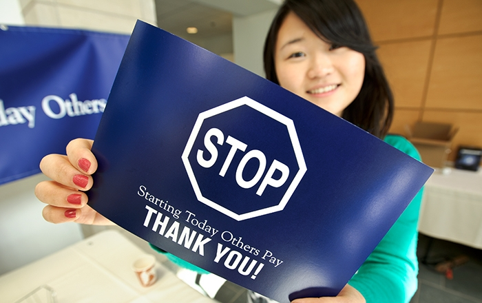 Yeun Jae Song &apos;16 shows Stop Day thank you card.<br />Photo: Nancy L. Ford