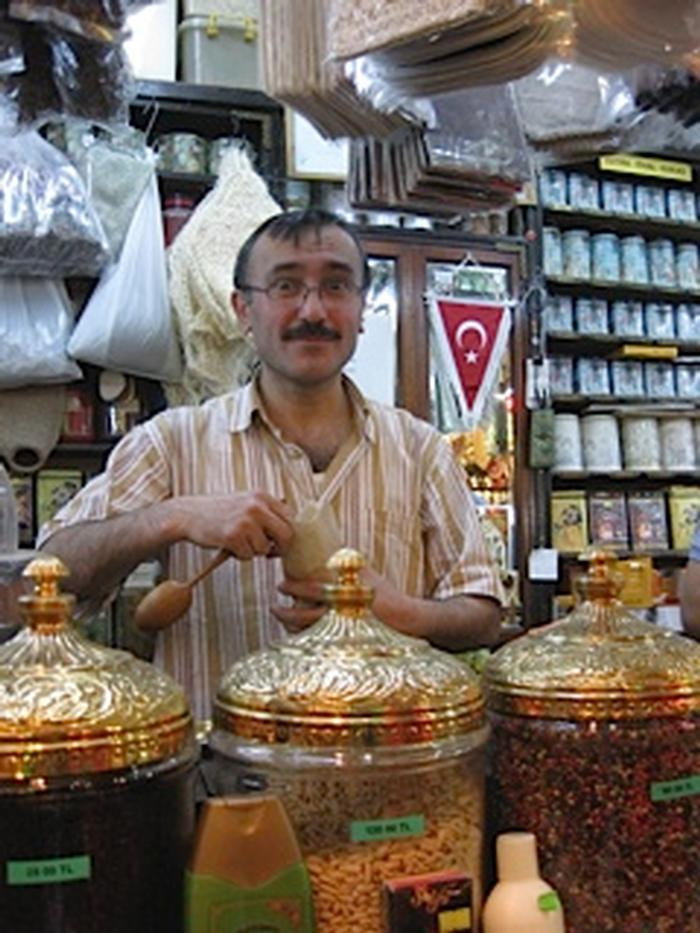 Spice merchant in Istanbul's Spice Market