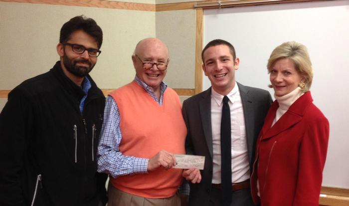 Prithvi Tanwar, Michael Fawcett '66, Pitch Competition winner Sam Matlick '17, and Hedy Foreman.