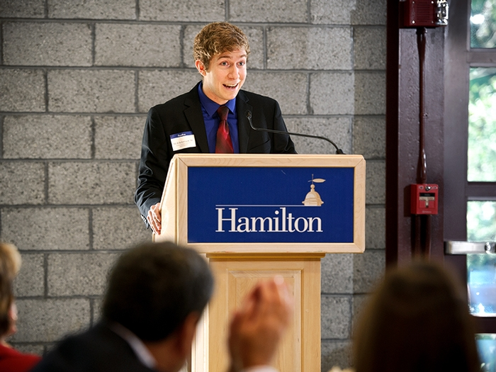 Will Robertson '14 speaks at Friday's annual Comstock Lunch.
