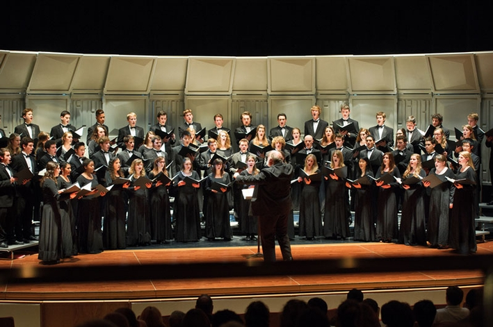 "Hamilton College Choir performs during a night of ""Choral Song and Dance"" in Wellin Hall, Schambach Center. (PHOTO BY NANCY L. FORD)"