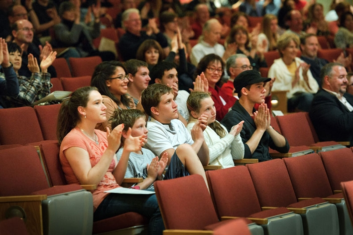 Members of the audience enjoy the College Choir performance. (PHOTO BY NANCY L. FORD)