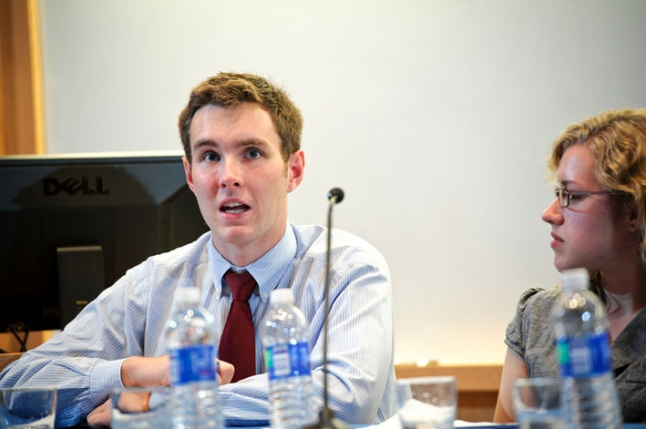 "Jack Cartwright '15 defends his position as Republican and Democratic students led a debate on the topic ""Should Obama Be Reelected?"" (PHOTO BY NANCY L. FORD)"