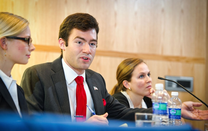 Sarah Larson '15, Brady Sprague '15 and Kayla Safan '13 participate in the student-led debate. (PHOTO BY NANCY L. FORD)