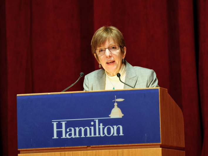 President Joan Hinde Stewart delivers a State of the College Address. (PHOTO BY NANCY L. FORD)