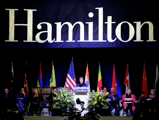 President Joan Hinde Stewart at Hamilton College Commencement.<br />Photo: Adam J. Brockway