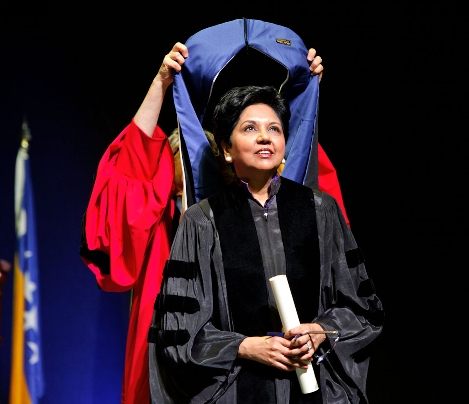 Indra Nooyi P '07, chairman and chief executive officer of food and beverage company PepsiCo, receives an honorary degree.<br />Photo: Nancy L. Ford