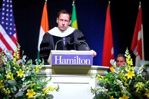 PayPal Co-Founder Peter Thiel gives the commencement address. <br />Photo: Nancy L. Ford
