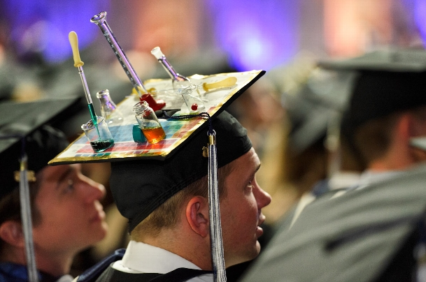 A graduate&apos;s decorated cap.<br />Photo: Nancy L. Ford