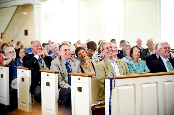 The audience gathered to hear Jim Memmott &apos;64 present the class annalist letter.<br />Photo: Nancy L. Ford