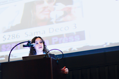 Stephanie Higgins Bealing '04 presenting at a Hartford Young Professionals and Entrepreneurs Awards ceremony, just before she won an award.